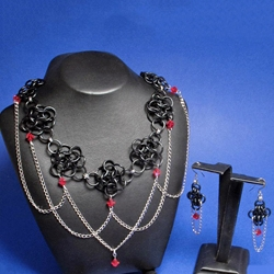 Black Chainmalle Necklace and Earring Set 37-4086