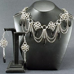 Black Diva Necklace & Earrings Set 37-4093