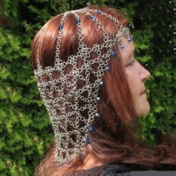 Silver Chainmail Full Headdress