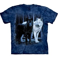 Black and White Wolves Adult T-Shirt 43-1011060