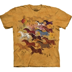 Horses and Sun Adult T-Shirt