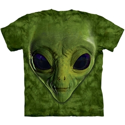 Green Alien Face Adult T-Shirt 43-1034990