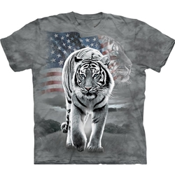 Patriotic Tiger Adult T-Shirt
