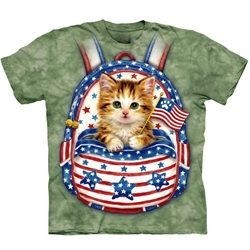 Patriotic Backpack Kitten Youth's Tee Shirt 43-1582160
