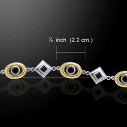 Black Onyx Ovals & Diamonds Silver & Gold Bracelet 52- MBL092