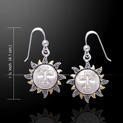 Celtic Sun Silver & Gold Earrings