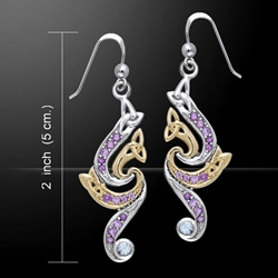 Elegant Silver & Gold Gem Earrings 52-MER569