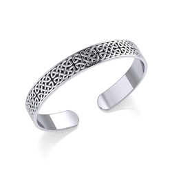 Celtic Knotwork Silver Bangle Bracelet 52-TBG059