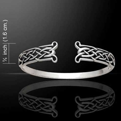 Celtic Knots Open Silver Bangle 52-TBG343