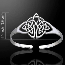 Celtic Knotwork Silver Bangle Bracelet 52-TBG398