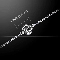 Celtic Knotwork Four Point Quaternary Knot Silver Anklet  52-TBG727