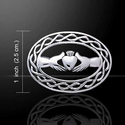 Irish Claddagh with Celtic Knotwork Silver Brooch 52-TBR027