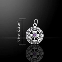 Celtic Knotwork Irish Shamrock Silver Charm with Gem 52-TCM067