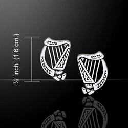 Celtic Knotwork Silver Harp Earrings 52-TE1101