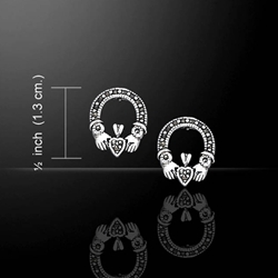 Irish Claddagh Silver Post Earrings with Marcasite