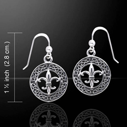 Celtic Knotwork Silver Fleur De Lis Earrings 52-TER113