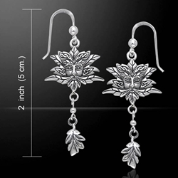 Green Man Silver Earrings 52-TER171