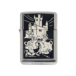 Damascene Zippo Lighter Battle Scene by Marto 56-M840-001