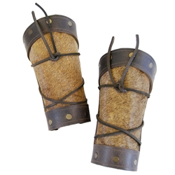 Barbarian's Leather Arm Bracers - Brown 61-1113