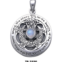 Moon Pentacle Pendant with Stone, Large 66-TP2320