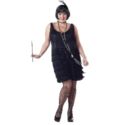Flapper Fashion (Black) Adult Plus Costume 100-125516