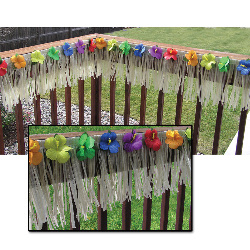 24' Deck Fringe - Natural Nylon with Hibiscus Flowers 100-133378