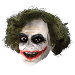Batman Dark Knight Adult Joker 3/4 Vinyl Mask with Hair 100-149864