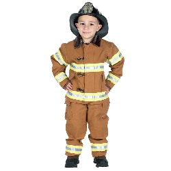 Jr. Fire Fighter Suit Tan Child Costume 100-153083