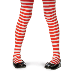 Red/White Striped Tights Child 100-181159