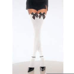 White Thigh High Stockings with Bow 100-107638