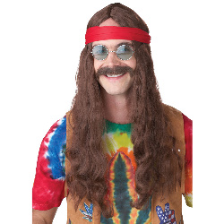 Hippie Man (Brown) Adult Wig and Moustache 100-213153