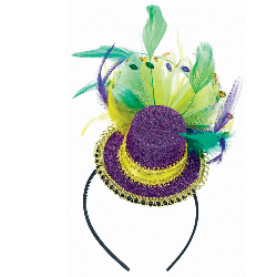 Mardi Gras - Feathered Mini Hat Headband 100-209763