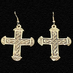 Medieval Cross Earrings Gold Plated