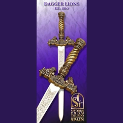 Toledo Lion Dagger, Gold Finish TS-190-O