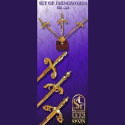 Set of 3 Mini-Swords With Desk Display TS-228