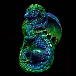 Emerald Peacock Young Dragon Sculpture