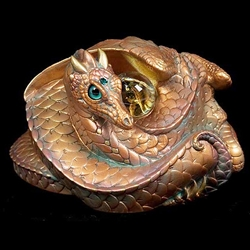 Coiled Dragon Copper Patina With teal eyes Statue