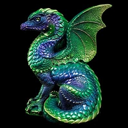 Spectral Dragon Sculpture emerald peacock 514-EP