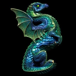 Rising Spectral Dragon Sculpture Emerald Peacock