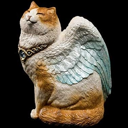 Bird-Winged Flap Cat Orange & White with Blue Wings Statue