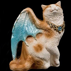 Bat-Winged Flap Cat Orange and White with Blue Wings Statue