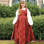 Fleur-de-lis Red Dress For Children 100800
