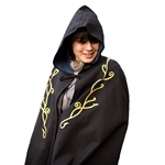 Elven Embroidered Cloak - Black Twill