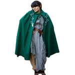 Elven Embroidered Cloak - Green Twill