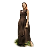 Peasant Dress in Dark Brown