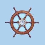 "Ship Wheel Clock 18"" 143-SW-1721A"