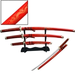 Japanese Dragon Katana Sword Set 3 Piece Red with Stand