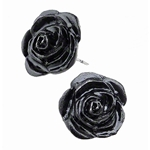 Black Rose Stud Earrings Pewter Alchemy E339