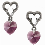 Elizabethan Heart Earrings Pewter Alchemy E346