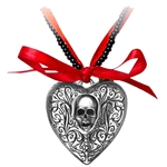 The Reliquary Heart Locket Necklace Pewter Alchemy P496